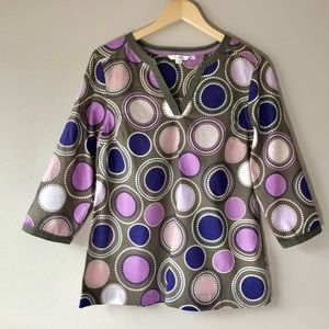 NEW BODEN V- Neck Circle Print Tunic Top - Size 6